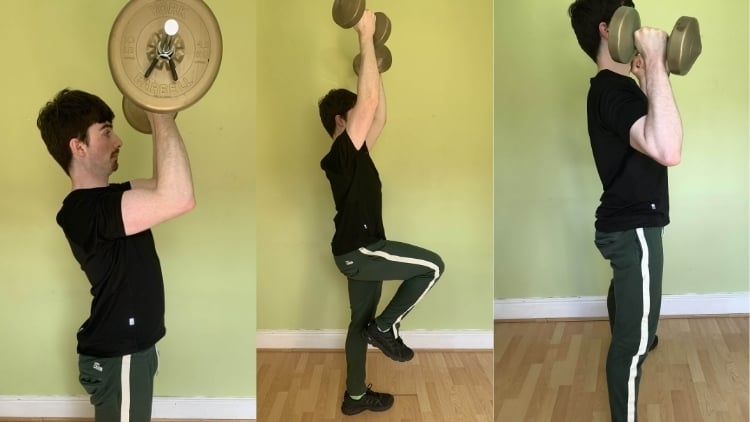 A man doing a bicep curl to overhead press