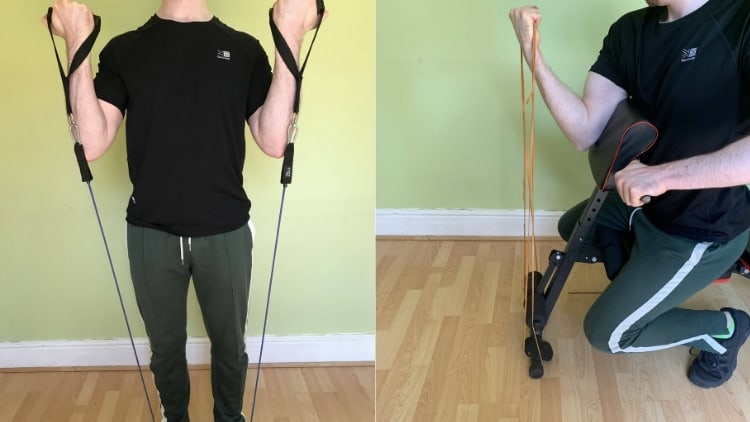A man performing a bicep resistance band workout