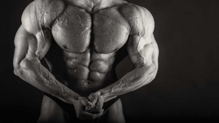 Bodybuilder doing a most muscular pose