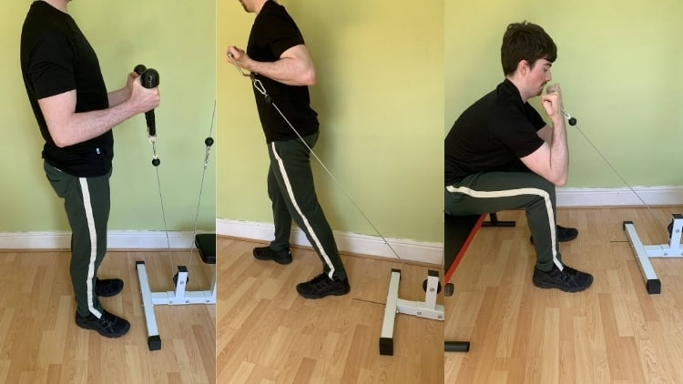 Man performing various cable bicep exercises