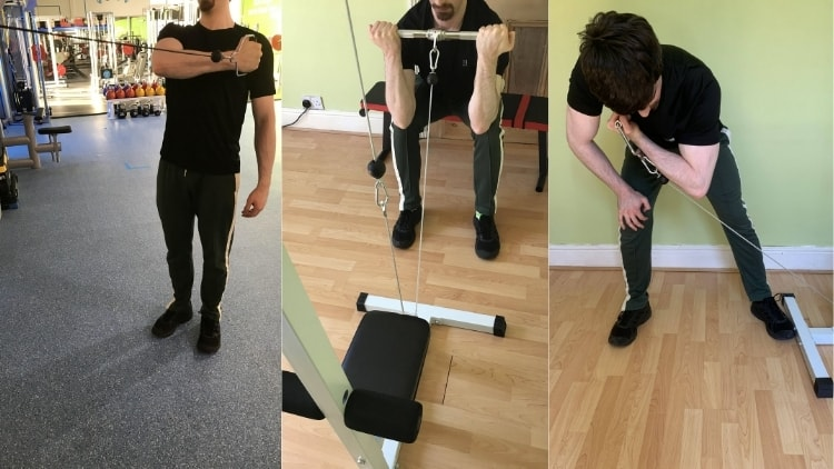 A man demonstrating some cable concentration curl variations