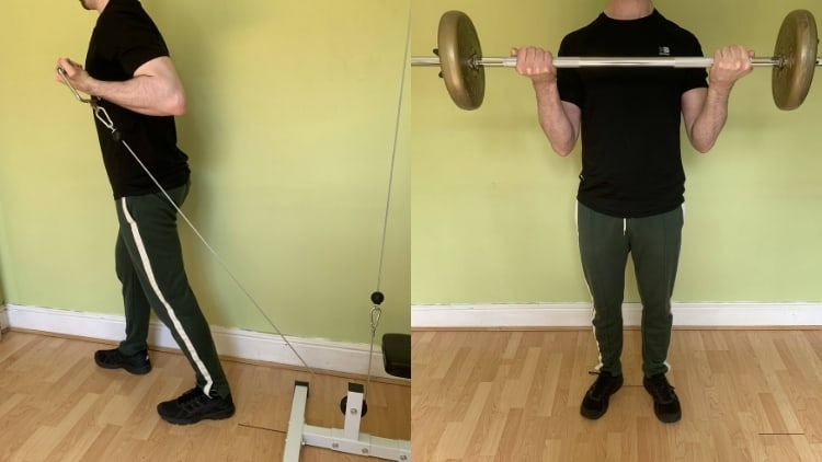 A man demonstrating the differences between cable curls and barbell curls