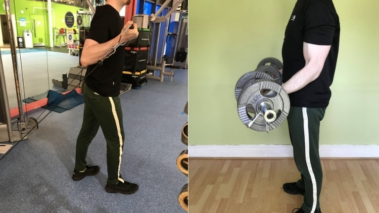 A side by side cable curls vs dumbbell curls comparison