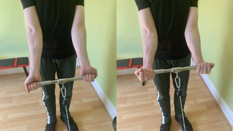 A man performing a cable forearm curl