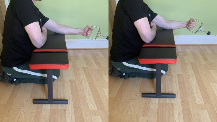 A man performing cable forearm exercises