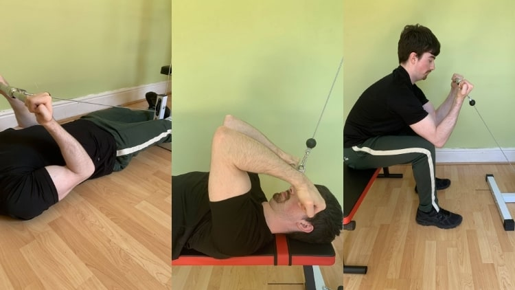 A man performing cable reverse curls and other exercises
