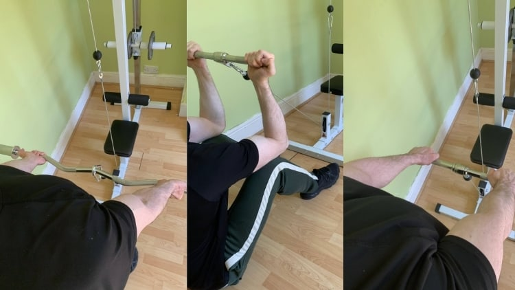 A man demonstrating alternatives to the close grip cable bicep curl