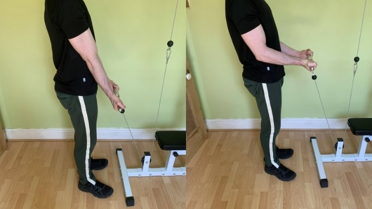 Man doing a close grip cable curl