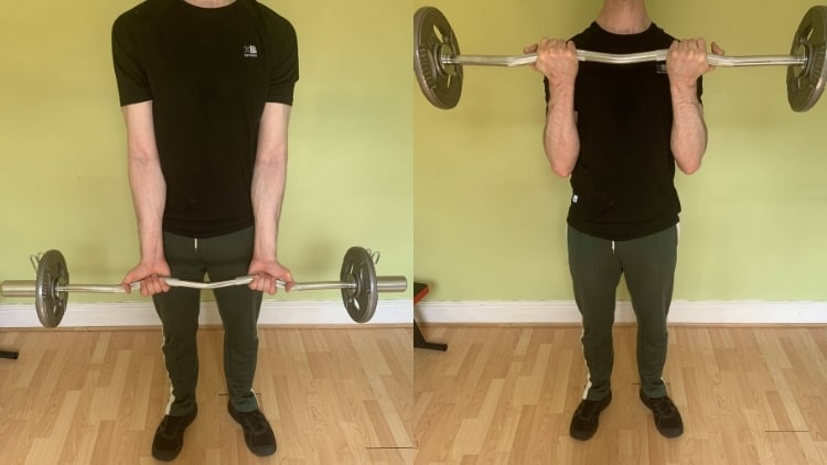 A man performing a close grip EZ bar curl for his biceps
