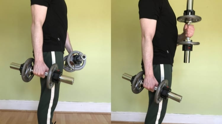 A man doing a cross body hammer curl with dumbbells for his biceps