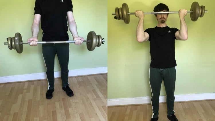A man doing Dave Draper forehead curls for his biceps