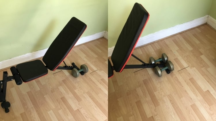 The proper decline hammer curl setup: weights positioned at the end of the bench
