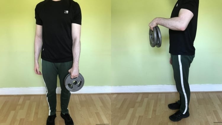 A man performing a double plate reverse curl