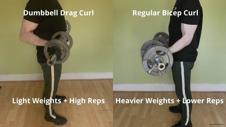 A man doing a drag curl with dumbbells
