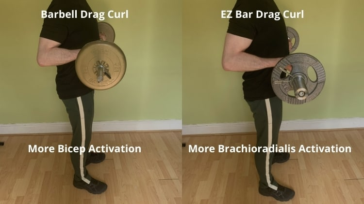 A man doing a drag curl with an EZ bar