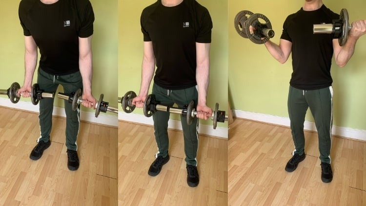 A man performing dumbbell cheat curls