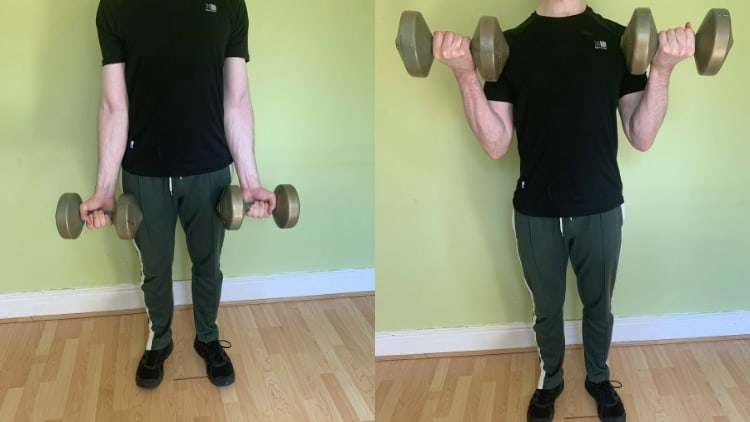 A man doing dumbbell curls for his biceps