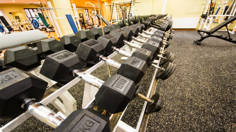 dumbbells in the rack at the gym