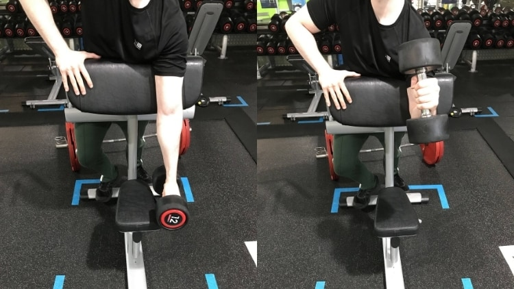 A man performing a dumbbell single arm spider hammer curl
