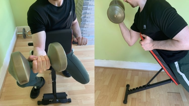 A man performing a dumbbell spider curl and a preacher curl
