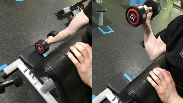 A man doing dumbbell spider curls for his biceps
