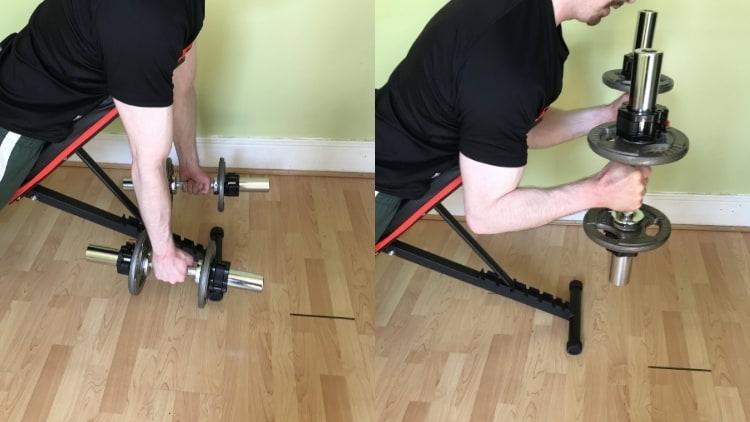 A man performing dumbbell spider hammer curls