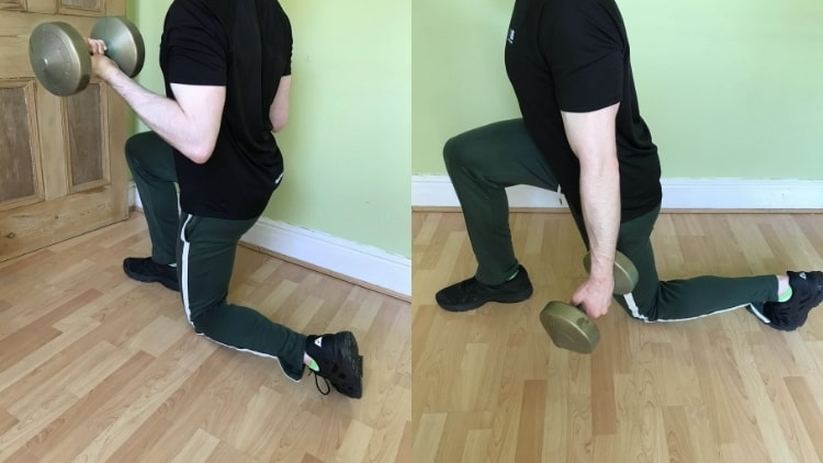 Man performing a dumbbell walking lunge with biceps curl