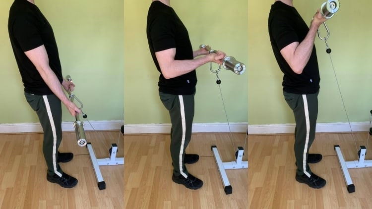 Man performing an EZ bar cable curl
