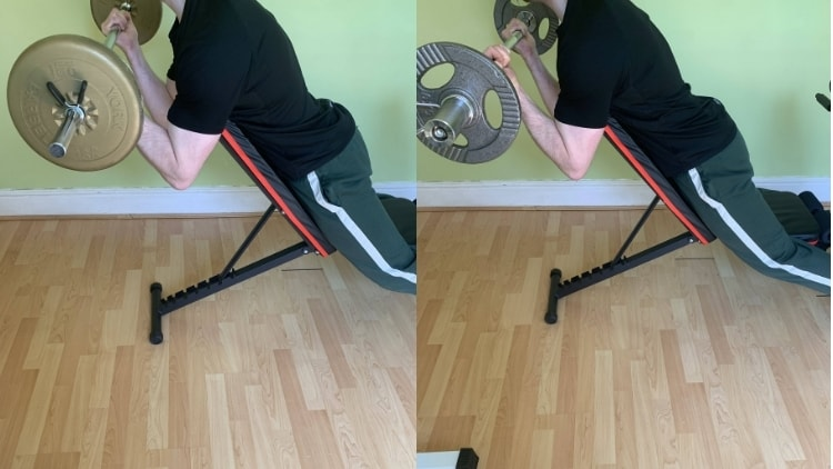 A man demonstrating the differences between an EZ curl and a straight bar curl