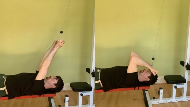 Man doing the guillotine curl for his biceps