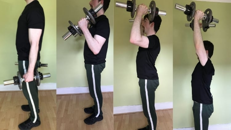 Man performing a hammer curl to press for his shoulders