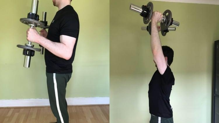 Man doing a hammer curl to shoulder press