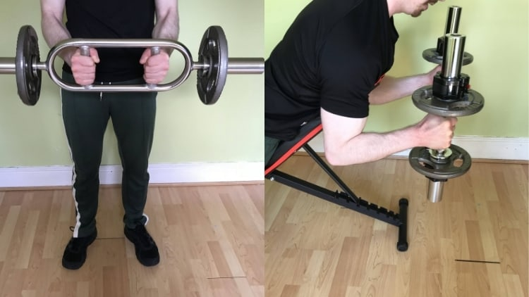 A man demonstrating some hammer curl variations and alternative exercises