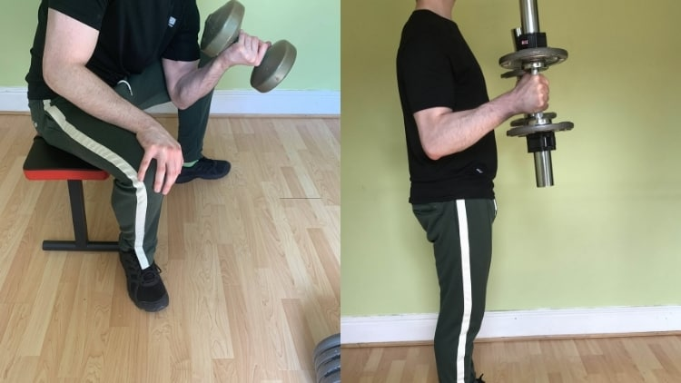 A hammer curl vs concentration curl comparison and demonstration