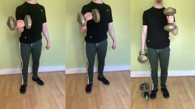A man demonstrating the difference between a hammer curl and a Zottman curl