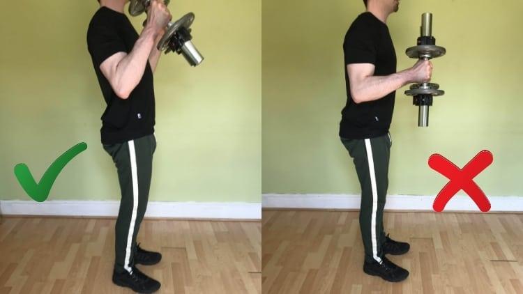 A man performing 1 1 2 hammer curls