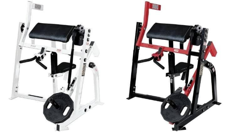 A Hammer Strength plate loaded preacher curl machine