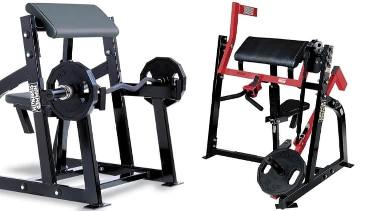 Two Hammer Strength preacher curl stations