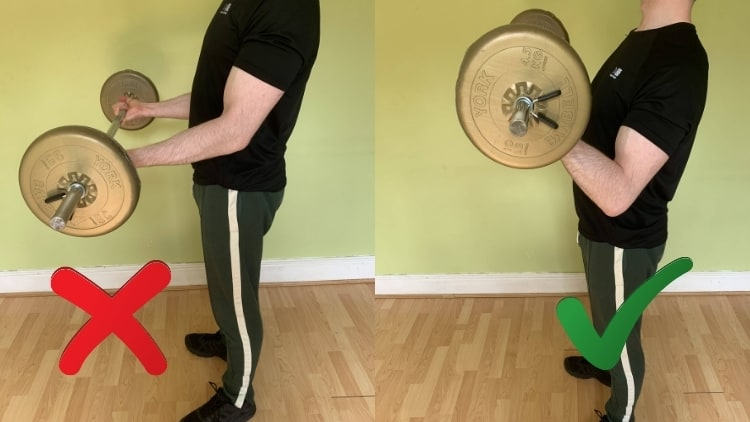 A man showing how to do barbell curls with the proper form