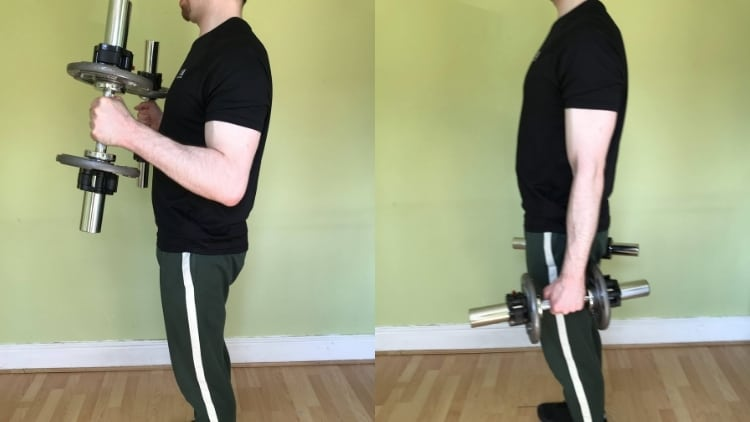 A man showing how to do hammer curls with dumbbells to work the biceps