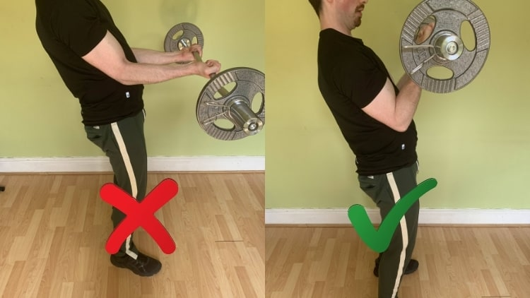 A man showing how to do sissy bar preacher curls