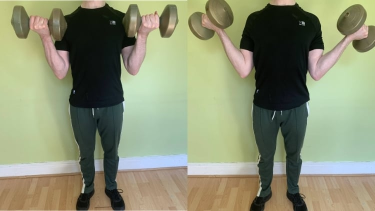 A man performing an in and out bicep curl