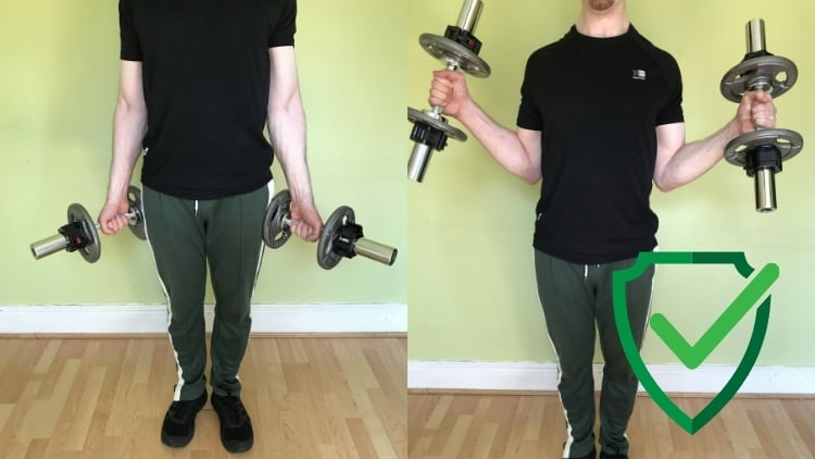 A man doing in and out hammer curls