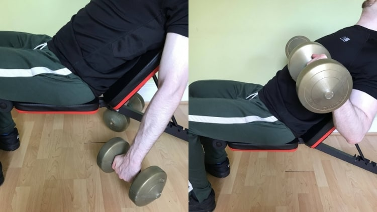 Man performing an incline dumbbell reverse curl