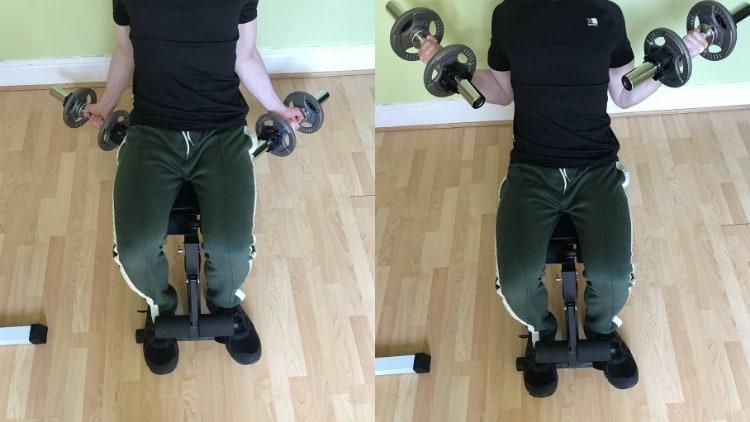 Man performing an incline inner biceps curl