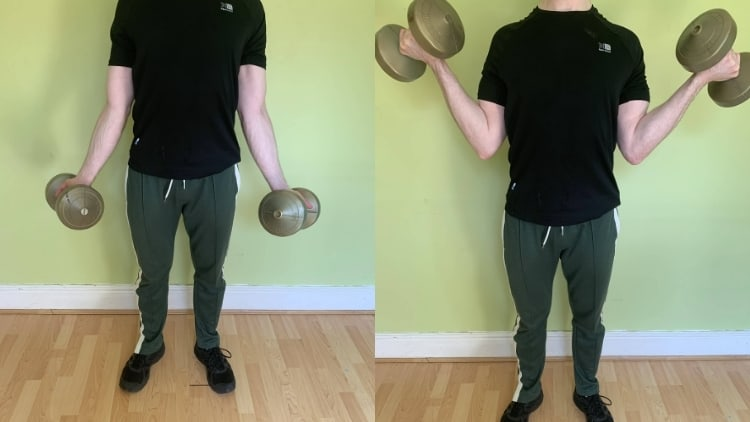 Man demonstrating the inner biceps curl