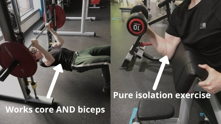 A side by side comparison of inverted bicep curls and regular curls