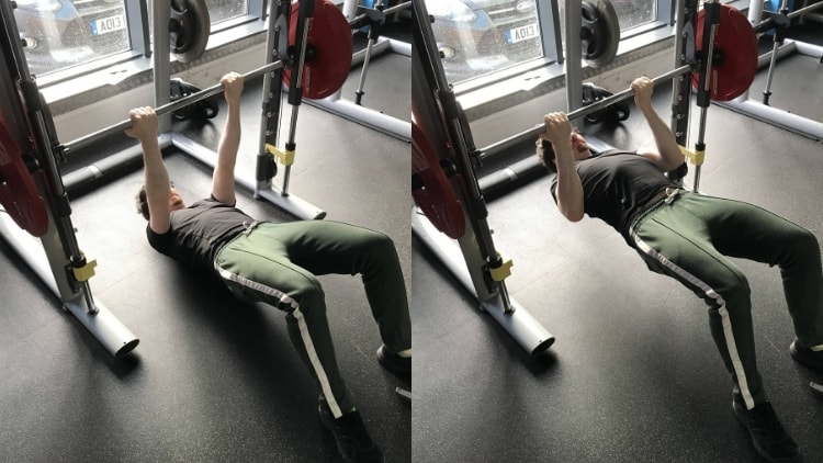 A man doing an inverted bicep curl