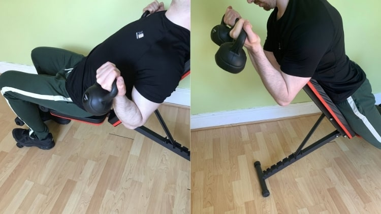 A man demonstrating some good kettlebell bicep exercises