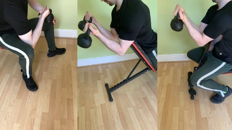 A man showing the different variations of kettlebell curl